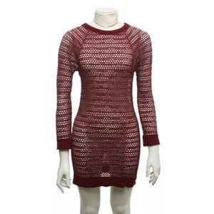 ❣️Isabel Marant Maroon Fishnet Dress Size 1❣️